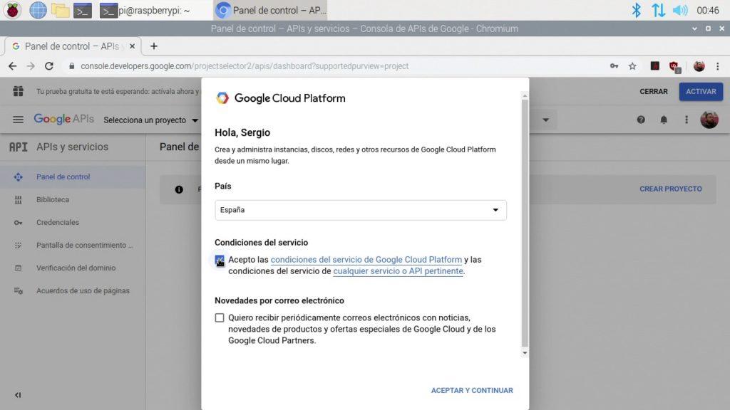Confirmando la creación de cuenta de Google Developers