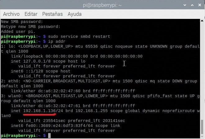 Conociendo la IP de la Raspberry Pi con el comando ip addr