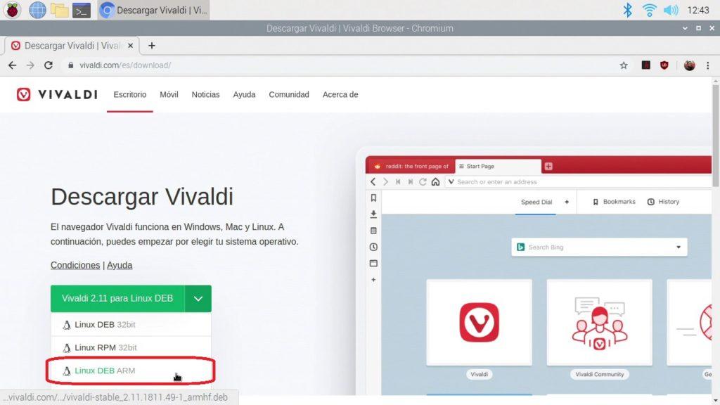 Descargando Vivaldi en Raspberry Pi