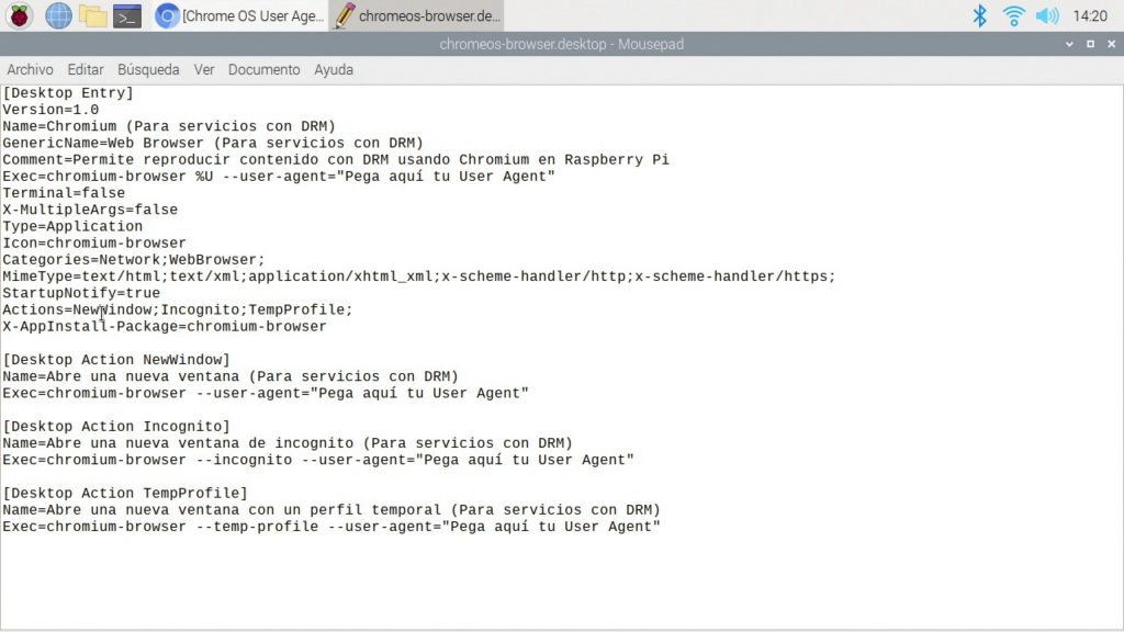 Editando el acceso directo de Chromium con Text editor