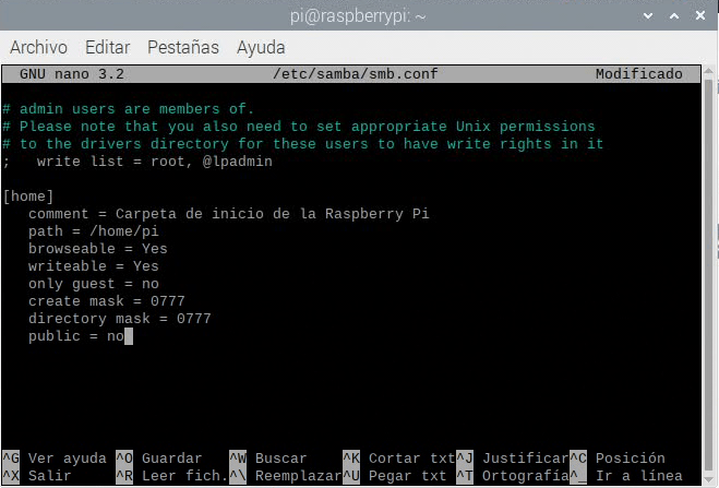 Editando smb.conf para añadir nuevas carpetas compartidas a la Raspberry Pi con Samba