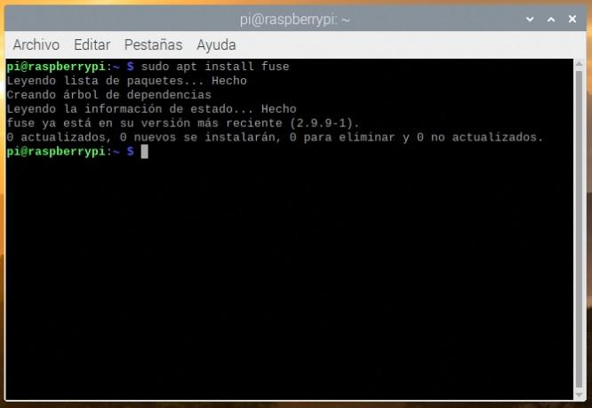 Instalando fuse en Raspbian