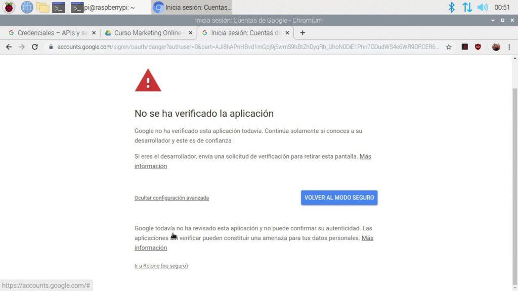 Mensaje de aplicación sin verificar para Rclone