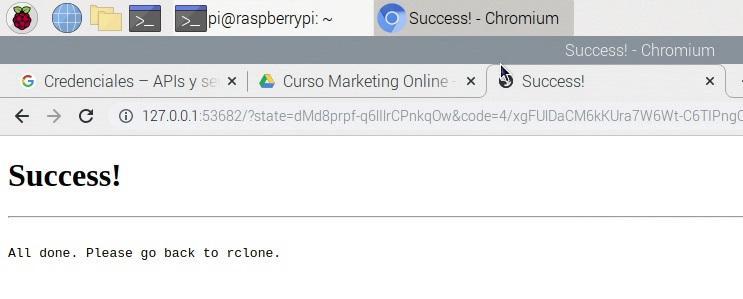 Mensaje de exito a la hora de vincular Rclone con Google Drive