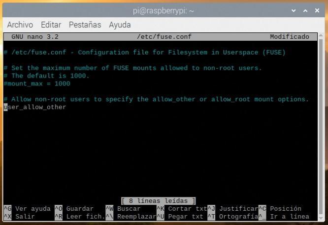 Modificando la configuración de FUSE