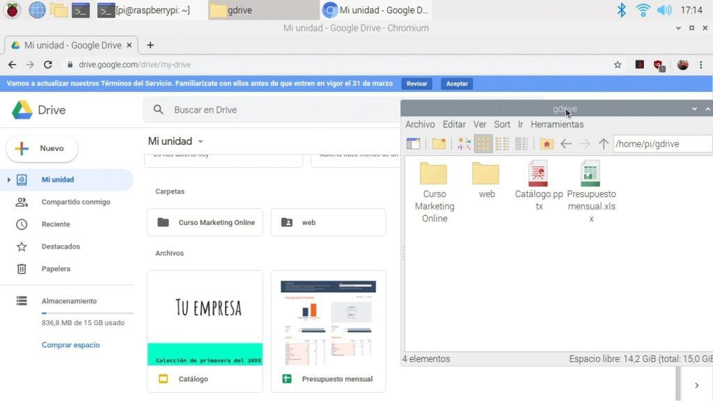 Rclone funcionando con Google Drive