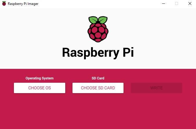 Ventana principal de Raspberry Pi Imager