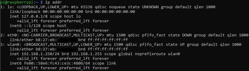 Comprobando la IP de la Raspberry Pi con ip addr