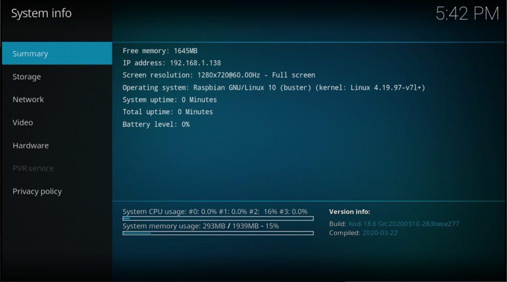 Kodi 18.6 funcionando en RetroPie 4.6