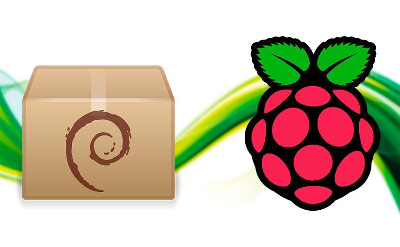 Logo de Raspberry Pi y de un paquete .deb