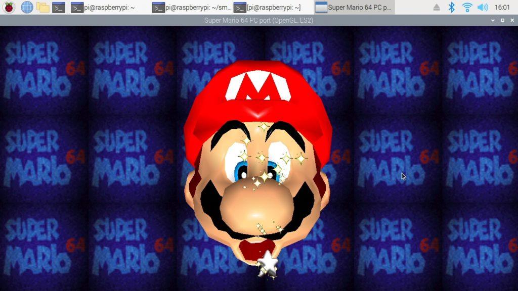 Pantalla principal de Super Mario 64 en una Raspberry Pi 3B+