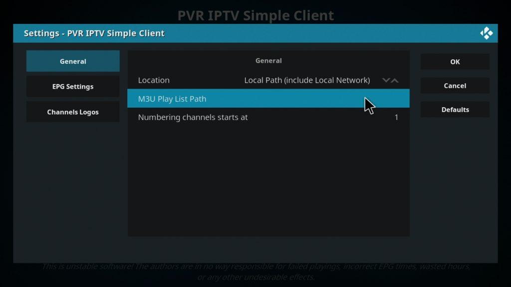 Añadiendo la lista IPTV a Kodi