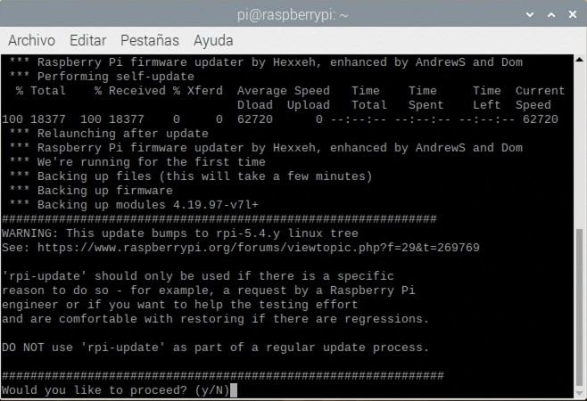 Actualizando el kernel de la Raspberry Pi 4B