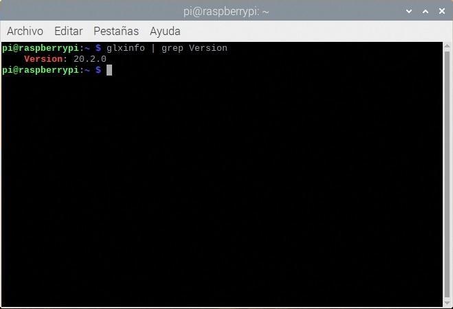 Comprobando la version de MESA en una Raspberry Pi 4B con glxinfo