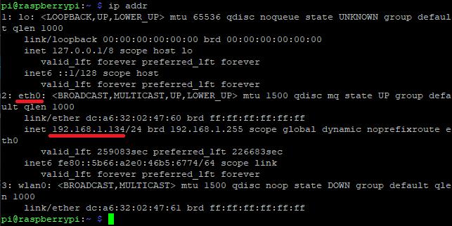 Consultando la IP de la Raspberry Pi con la utilidad ip addr desde Putty