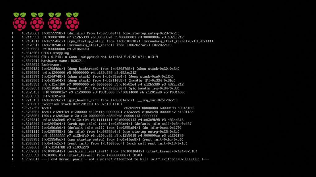 Error de kernel intentando arrancar el sistema operativo en la Raspberry Pi 4B con un lector de tarjetas microSD