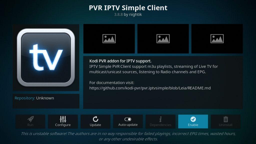 Habilitando y configurando IPTV Simple Client en Kodi