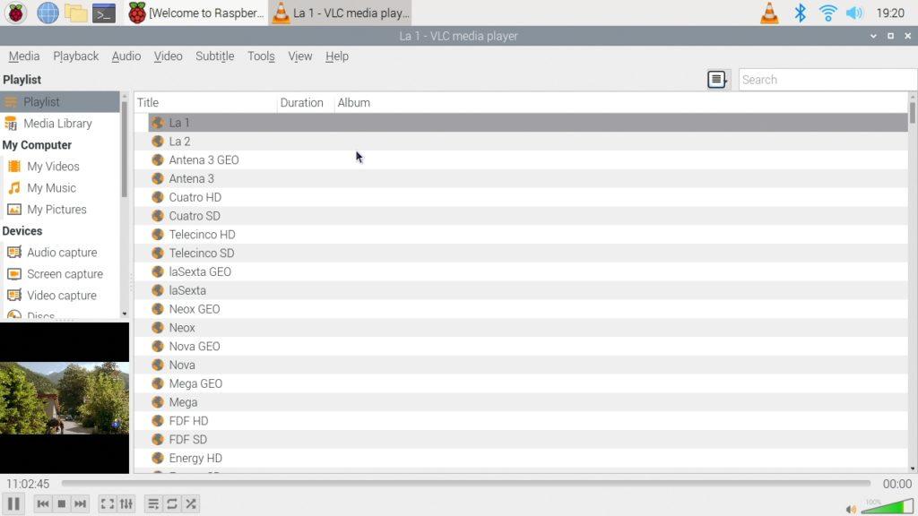 Lista de canales funcionando en VLC en Raspberry Pi