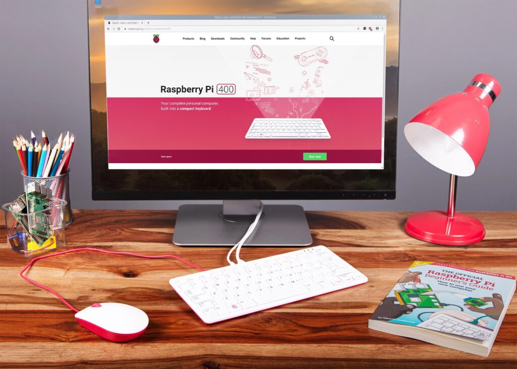 Raspberry Pi 400 funcionando