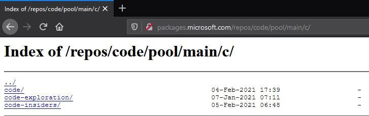 Contenido de los repositorios de Microsoft en Raspberry Pi OS