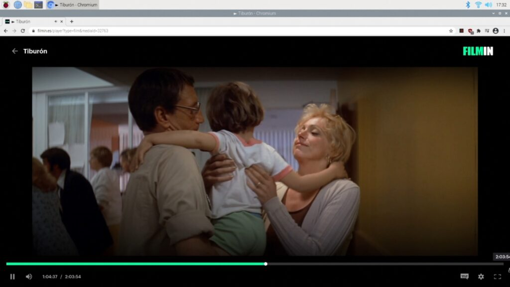 Usando una Raspberry Pi 4B para ver Tiburón en Filmin con las librerias widevine