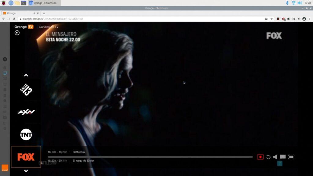 Viendo FOX desde Orange TV en Chromium con una Raspberry Pi 4B y la libreria widevine